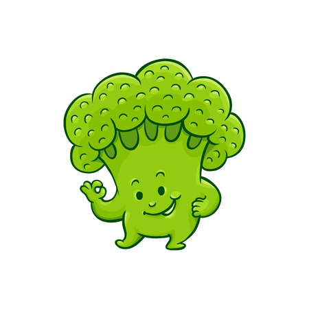 Cheerful broccoli character showing okey, ok gesture by fingers. Funny green vegetable cute healthy organic food full of vitamins. Cartoon smiling hand drawn plant with arms, legs. Vector illustration
