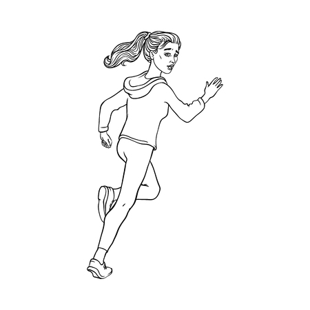 Young sportive girl in athletic clothing, running looking back. Beautiful female character, redhead woman runaway with afraid face. Isolated monochrome vector illustration in sketch style Illustration