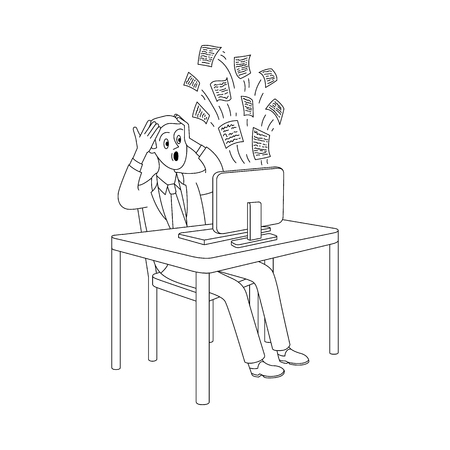 Puzzled young man sitting at table holding head behind desktop computer with messages flying out. Modern digital technology people information overload concept. Vector sketch monochgome illustration Illustration