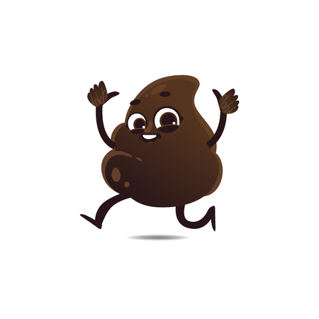 Cheerfu brown poop character with legs and arms running waving hands, thumbs up gesture with happy facial expression. Funny smilling crap shit excrement smiling. Vector cartoon isolated illustration. Stock Illustratie