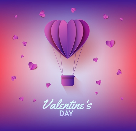 Heart shaped hot air balloon in paper art on gradient background for Valentines Day greeting card. Vector illustration of abstract flying aerostat and hearts made from folded paper or carton.