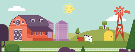 Countryside landscape - horizontal banner or header with farm barn with windmill and cows in summertime. Farmland with rural animal on field with agricultural plants in vector illustration.