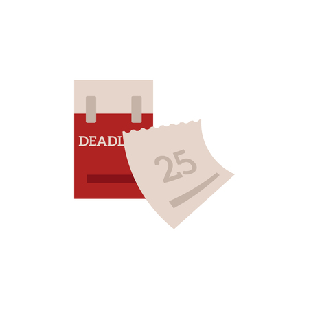 Deadline and time management concept with tear-off calendar and next date marked in red isolated on white background. Flat vector illustration of planning and schedule theme.