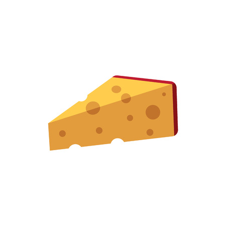 Cartoon wedge of emmental chees. Swiss, italian dairy fresh organic product, gourmet healthy food for advertising, poster design. Isolated vector illustration