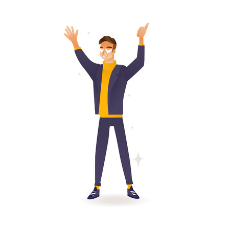 Delight and amorous caucasian man with thumbs up gesture - cartoon vector illustration of young happy and smiling boy standing with hands up and positive emotions isolated on white background.