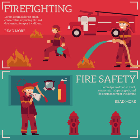 Firefighting and fire safety concept banners set. Fireman in fire protection uniform extinguishing fire, male characters running with fire axe, holding water hydrant. Vector illustration