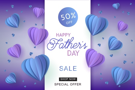 Happy fathers day sale poster template with lettering inscription on purple papercut origami style air balloons on violet background. Vector marketing advertising design for special offers, discounts