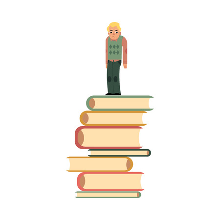 Young man in casual clothing, glasses standing at big books pile or column with sad unhappy facial expression. Isolated vector illustration, white background