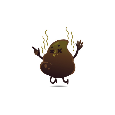 Cheerfu brown poop character with legs and arms standing dissatisfied, tired with unhappy sad facial expression. Funny smilling crap or shit excrement. Vector cartoon isolated illustration.