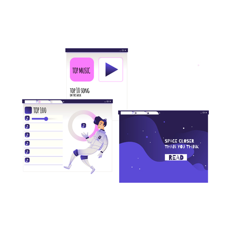 Search and analysis of information concept - young man in cosmonaut costume flies surrounded by devices screens with different data isolated on white background, cartoon vector illustration.