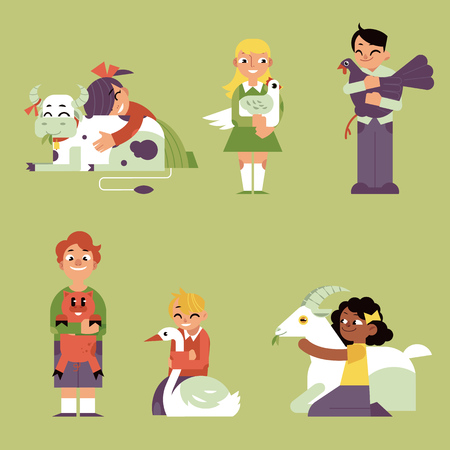 Children hugging domestic farm animals set isolated on green background. Flat cartoon kid girls and boys gently and carefully embracing animals and birds in vector illustration.