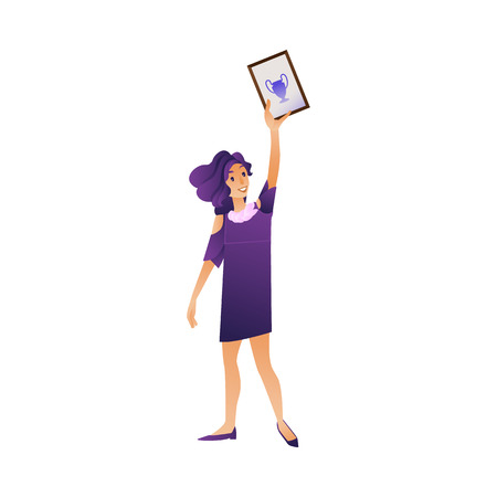 Smiling female student graduate holding diploma in hand up isolated on white background - happy young girl with certificate of successful completion of studies in cartoon vector illustration. Illusztráció
