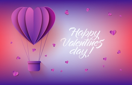 Heart shaped hot air balloon in paper art on gradient background with sign for Valentines Day greeting card - vector illustration of abstract flying aerostat and hearts made from folded paper.