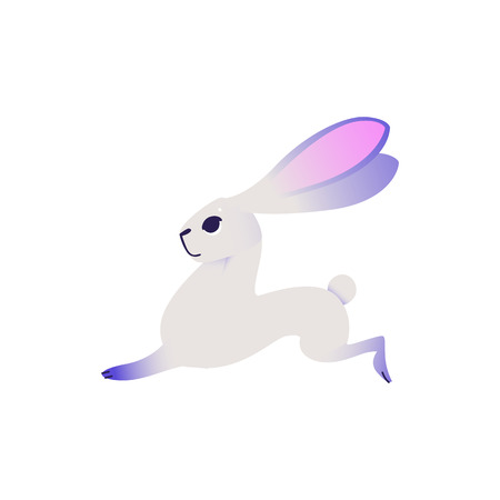 Cute rabbit with ultra violet fur running forward isolated on white background. Cartoon cute colorful fluffy bunny character in vector illustration - adorable dreamlike hare. 写真素材