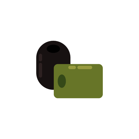 Ripe raw green and black olive icon. Healthy food, vegetable full of vitamins. Fresh nutritions source, dieting and healthy life style symbol. Vector flat illustration isolated Illustration