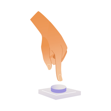 Human hand pressing button with index finger isolated on white background. Cartoon vector illustration of wrist pushing bell to call or inform someone.