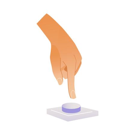 Menselijke hand te drukken knop met wijsvinger geïsoleerd op een witte achtergrond. Cartoon vectorillustratie van pols bel duwen om te bellen of iemand te informeren.