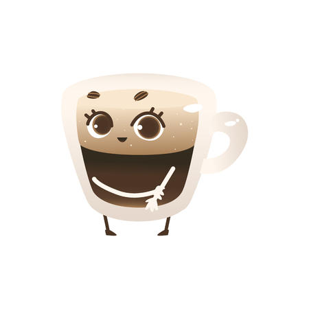 Glass cup of coffee with lush foam cartoon character standing shy isolated on white background. Cute mug of hot invigorating drink with big eyes in vector illustration. Ilustração