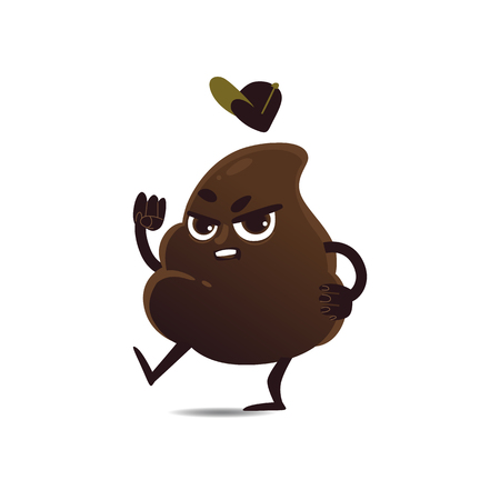 Cheerfu brown poop character with legs and arms in cap standing with angry frustrated facial expression showing fist . Unhunny crap or shit excrement. Vector cartoon isolated illustration. Illustration