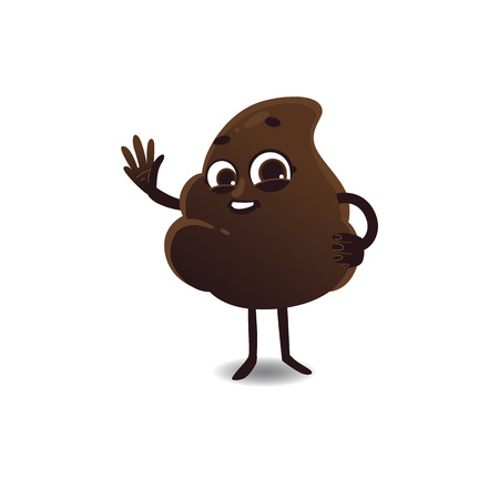 Cheerfu brown poop character with legs and arms running waving hands with happy facial expression. Funny smilling crap shit excrement smiling. Vector cartoon isolated illustration. Illustration