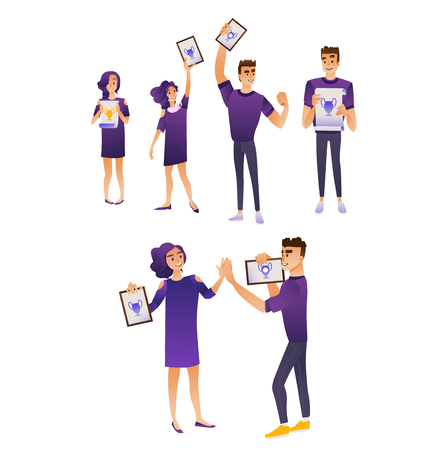 Happy students graduate from university with diplomas in their hands set - smiling young guys and girls holding certificates of completion of school, isolated cartoon vector illustration.