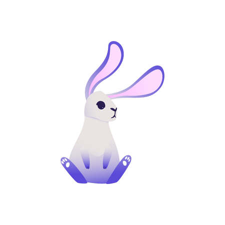 Cute rabbit with ultra violet ears and legs sitting and looking at something isolated on white background - cartoon cute dreamlike colorful fluffy bunny character in vector illustration. Vektorové ilustrace