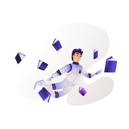 Research and analysis of information concept - young man in cosmonaut costume flies surrounded by different documents isolated on white background, cartoon vector illustration. Illusztráció