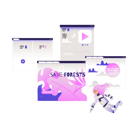Search and analysis of information concept - girl in cosmonaut costume flies surrounded by devices screens with different data isolated on white background. Cartoon vector illustration. Çizim