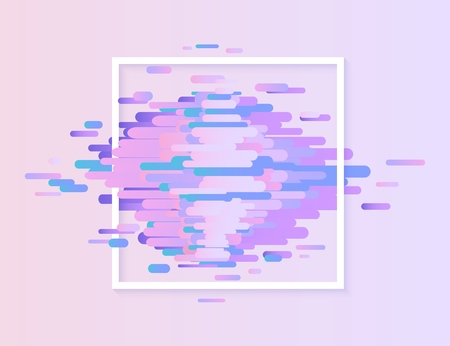 Glitched ultra violet horizontal stripes and shapes with white square frame - modern design graphic abstract element with digital signal error effect, vector illustration. Illustration