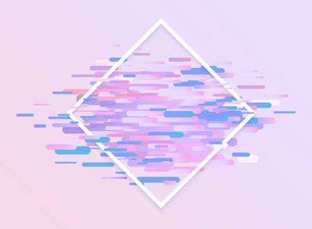 Glitched ultra violet horizontal stripes and shapes with white rhombus frame - modern design graphic abstract element with digital signal error effect, vector illustration.