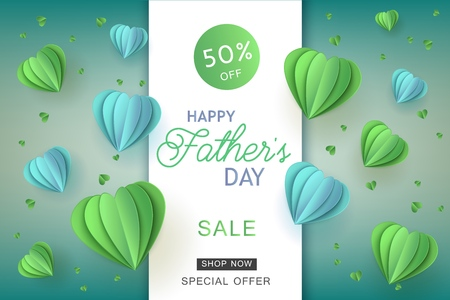 Happy fathers day sale poster template with lettering inscription on blue papercut origami style air balloons on green background. Vector marketing advertising design for special offers, discounts