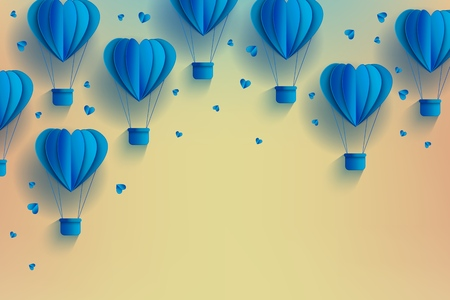 Heart shaped blue hot air balloons in trendy paper art style on pastel gradient background - origami folded cardboard aerostats surrounded by little hearts with copy space in vector illustration. Ilustração