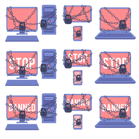 Various devices banned for illegal actions on web network - set of electronic computer gadgets with red screens and sign Stop or Banned blocked with chain and lock in flat vector illustration.