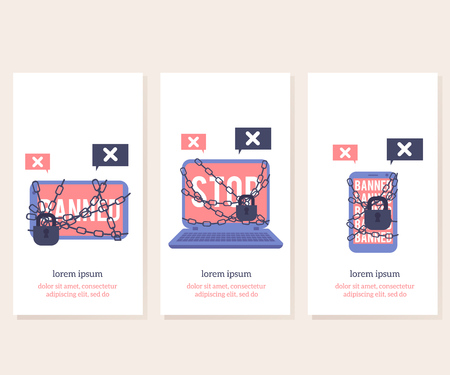 Banned for illegal actions devices with red screens and sign on vertical banner templates set - blocked with chain and lock laptop, tablet and smartphone in flat vector illustration.