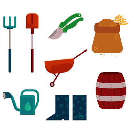 Farming and gardening tools set in flat cartoon style isolated on white background. Various countryside stuff for agricultural works - rural equipment objects in vector illustration. Ilustração