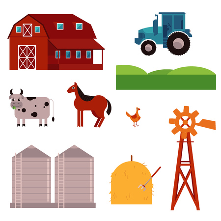 Rural design elements set. Livestock animals - cow, horse and chicken on green countryside landscape field, hay stack and ranch building house, agriculture facilities such as windmill adn water tower Stockfoto - 102972827