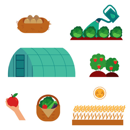 Farming and gardening scenes set in flat cartoon style isolated on white background - cultivation of agricultural crops, seeding and harvesting theme in vector illustration. Illustration