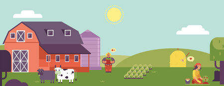 Farm landscape horizontal banner or header with farmers working on plantation and village animals. Countryside skyline with farmland and buildings in flat cartoon vector illustration.