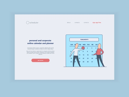 Time and terms of assignment concept at web page template. Characters marking date on calendar with red color - time management and online calendar theme in flat vector illustration. Illustration