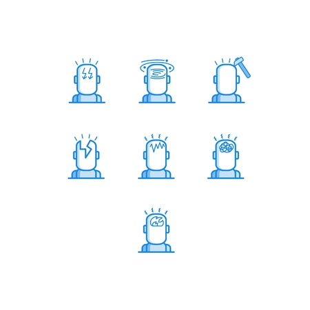 Headache types outline icons set - various symbols of human head with different pain isolated on white background. Line pictograms of migraine symptom in vector illustration.