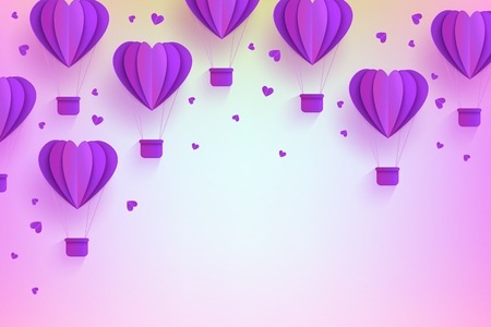 Heart shaped violet hot air balloons in trendy paper art style on pastel gradient background. Origami folded cardboard aerostats surrounded by little hearts with copy space in vector illustration. Ilustração