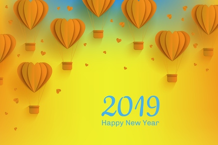 Happy New 2019 Year congratulation banner in trendy paper art style. Folded origami yellow hot air balloons in form of hearts and greeting sign on gradient background in vector illustration.