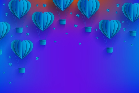 Heart shaped blue hot air balloons in trendy paper art style on gradient background - cardboard folded aerostats surrounded by little hearts and copy space in vector illustration for greeting card.