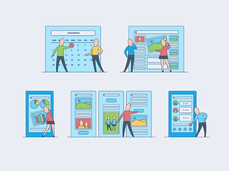 Using and customizing application set - mobile app with user-friendly interface concept isolated on white background. People performing custom settings in flat vector illustration. Stock Illustratie