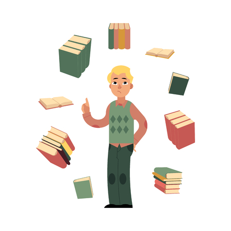 Sad student caucasian man standing in casual clothing holding book with textbooks flying around. Male character and education, university, college concept. Vector isolated illustration