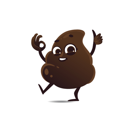 Cheerfu brown poop character with legs and arms running waving hands, thumbs up ok gesture with happy facial expression. Funny smilling crap excrement smiling. Vector cartoon isolated illustration. Illustration