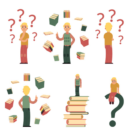 Young male characters in doubts, choosing and making decisions and students with books around set. Men in casual clothing, glasses standing, sitting with happy and sad faces. Vector illustration
