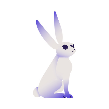 Cute rabbit with ultra violet ears and legs sitting and looking up isolated on white background. Cartoon cute dreamlike colorful fluffy bunny character in vector illustration.  イラスト・ベクター素材