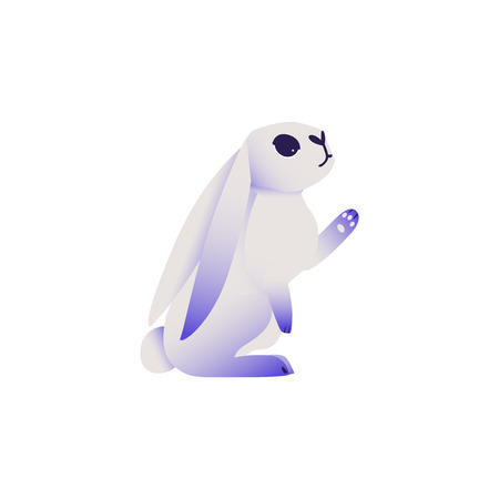 Cute rabbit with ultra violet ears and legs sitting and pointing or touching something isolated on white background - cartoon cute dreamlike colorful fluffy bunny character in vector illustration.
