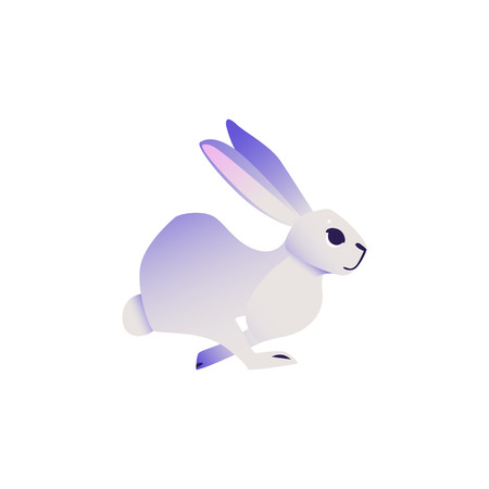 Cute rabbit with ultra violet fur running forward isolated on white background - cartoon cute colorful fluffy bunny character in vector illustration. Adorable dreamlike hare. Illustration